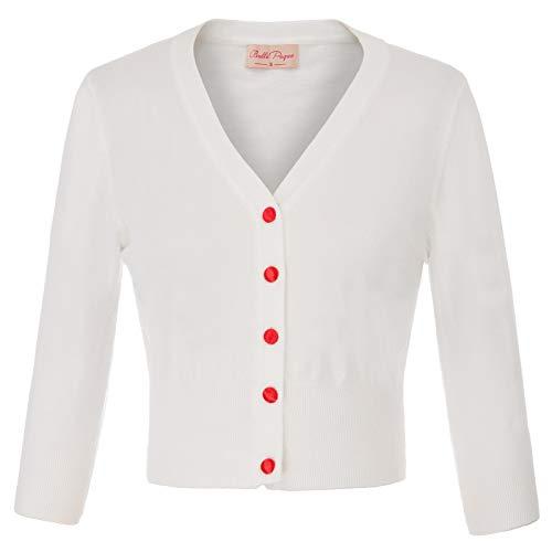 Women's 3/4 Sleeve Soft Knitting Cardigans Ivory White Cardigan Sweater Cropped Cardigan Size L BP928-2