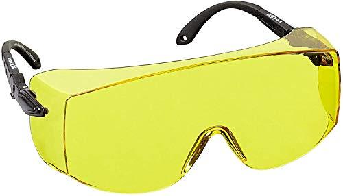 voltX 'OVERSPECS' Gewerbliche Schutzbrille für Brillenträger im Industriewesen - CE EN166f Zertifiziert (gelb Scheibe) - anpassbarer Bügel - beschlagfrei, Kratzfest, UV400 Schutz - Safety Overglasses