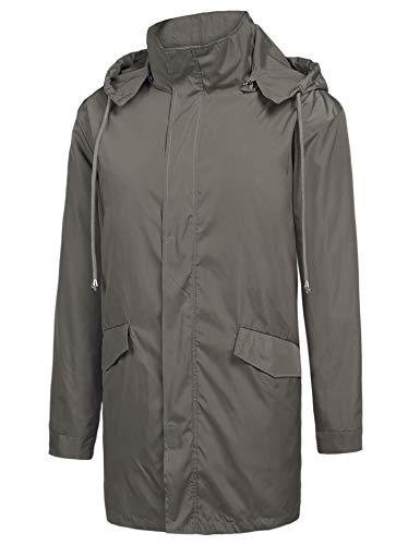 ZEGOLO Men's Raincoats Waterproof Windbreaker Lightweight Active Outdoor Full Zip Hooded Long Rain Jacket Trench Coats Deep Grey Large