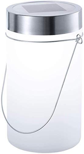 Lámpara solar LED con forma de tarro de cristal para colgar en el jardín, color blanco