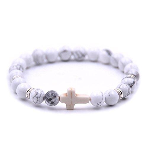 ZHEPIN Fashion Alloy Cross 8MM Beads Bracelet Bangle for Boy Girl Prayer Bracelets,7.5 Inches