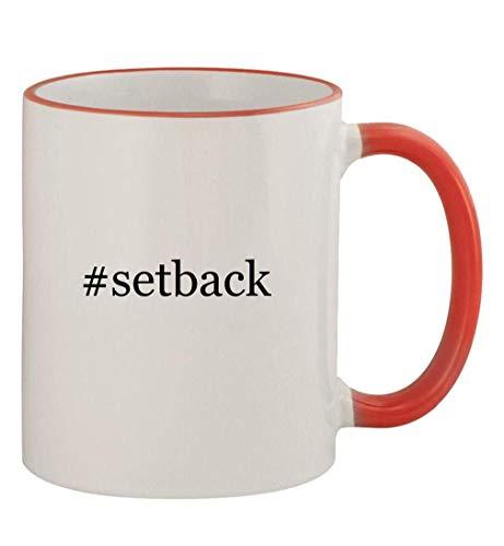 #setback - 11oz Colored Handle and Rim Coffee Mug, Red