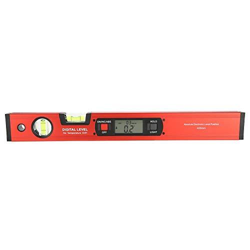 Nivel Digital Mmultifunción, Lectura del ángulo de 360° Inclinómetro, Pantalla LCD Inclinómetro Medidor, Base Magnética, 2 burbujas, 400 mm