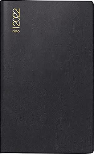rido/idé 7046892902 Taschenkalender/Plankalender M-Planer, 2 Seiten = 1 Monat, 87 x 153 mm, Kunststoff-Einband schwarz, Kalendarium 2022