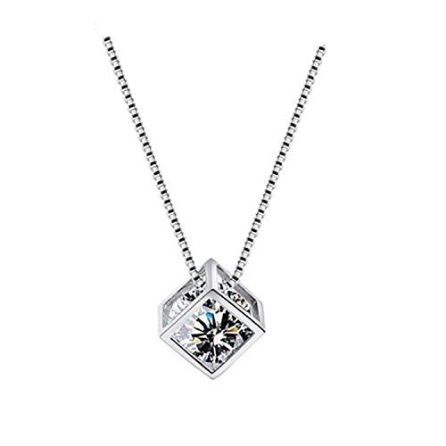 Likass Damen 925 Silber Halskette Silberanhänger,Beste Wahl Für Ihr Valentinstaggeschenk, Neujahrsgeschenk, Jahrestagsandenken,Symbol Der Liebe-Liebeswürfel