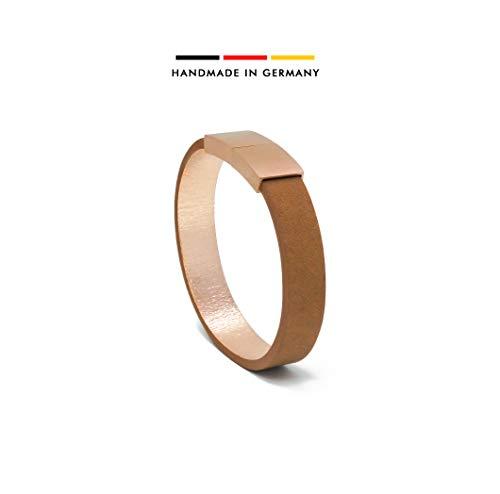 AIMI | LEATHERBAGS® - Premium Damen Lederarmband - handgefertigt im Schwarzwald | Magnetverschluss Edelstahl 18K vergoldet | inkl. edler Schmuckbox (havanna, 18)