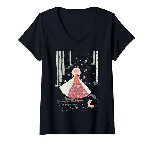 Mujer Copo de nieve Princesa Fawn Navidad Vacaciones Temporada de Camiseta Cuello V
