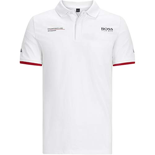 Porsche Motorsport Herren Poloshirt Team Weiß mit Motorsport Kit, weiß, Medium