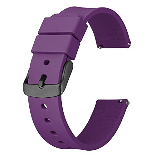 DALIANMAO Correas De Reloj De Silicona - Cierre Rápido Correas De Reloj De 14 Mm, 18 Mm, 20 Mm, 22 Mm Y 24 Mm Correas De Reloj De Silicona Deportivas (Band Color : Purple, Band Width : 22mm)
