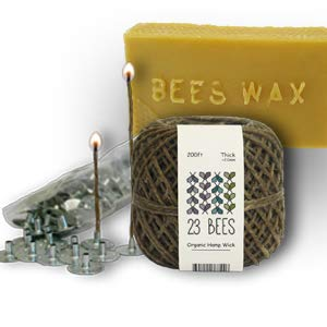 Organic Candle Making Bundle Kit, Organic Hemp Candle Wick + Natural Beeswax + Wick Sustainer Tabs, 23 Bees (200ft(Thick) x 200pc x 2lbs)