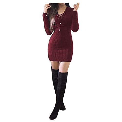 GOUWAN Damen sexy Langarm Minikleid Corns Pit gestreiften Hüftkleid,Figurbetontes Kleid Pullikleid Schlauch Kleider Party Kleider