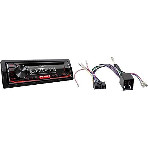 JVC KD-T702BT CD-Autoradio mit Bluetooth Freisprecheinrichtung ( Hochleistungstuner, Soundprozessor, USB, Android & Spotify Control, 4x50 Watt, Rot/Schwarz) & Radioadapter JVC 16 PIN