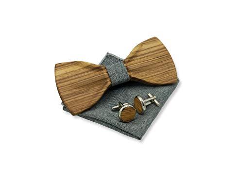 GREEN STUFF Malik - Das Öko Holzfliegenset - handgefertigt aus Zebraholz mit passenden Manschettenknöpfe und Einstecktuch |1 VERKAUFTES PRODUKT = 1 GEPFLANZTER BAUM| ([Staubgrau Jeans Look])