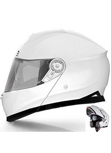 CRUIZER Motorradhelm, modularer Integralhelm, weiß glänzend, mit doppeltem Visier, herausnehmbares und waschbares Innenfutter, mikrometrischer Riemenverschluss (L)