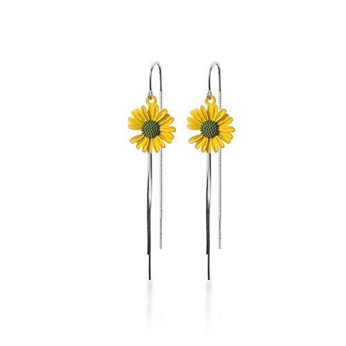 DJMJHG Versión Coreana de Plata de Ley 925, Pendiente de Gancho para la Oreja, pequeños Pendientes de Flor de Sol Fresca, joyería de Moda Vibrante para Mujer