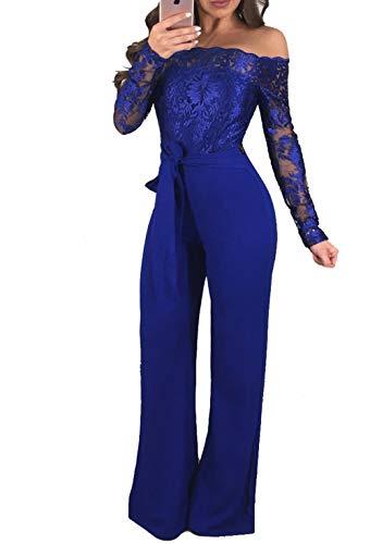 MASHIKOU Mono elegante para mujer, manga larga, con hombros descubiertos, encaje, pierna ancha, cintura alta, pantalones de fiesta, mono sin hombros, para otoño e invierno, azul, XXL