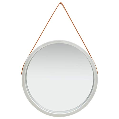 vidaXL Espejo de Pared con Correa Redondo Colgante Armario Baño Antiguo Retro Consumo de Maquillaje Decoración Hogar Sala Plateado 60 cm