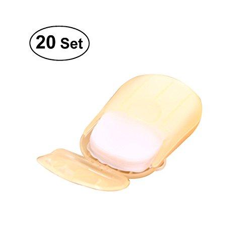 OUNONA Lavaggio a mano Bath Soap Slide fogli di carta usa e getta sapone sapone fiocchi con scatola di immagazzinaggio per viaggi campeggio trekking 20 pz (colore casuale)