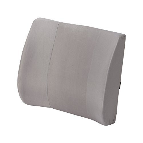 Duro-Med Contour Foam Lumbar Back Support Cushion Pillow with Strap, Gray