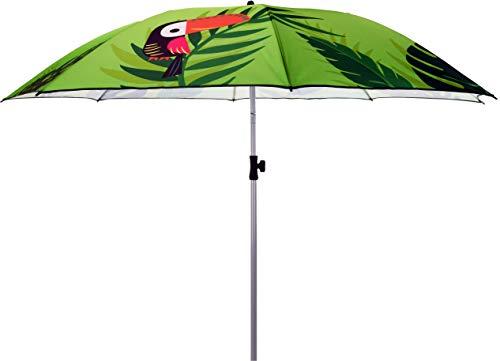 matrasa Sonnenschirm Tropical Papagei mit UV-Schutz Knickgelenk höhenverstellbar Ø 184 cm Grün