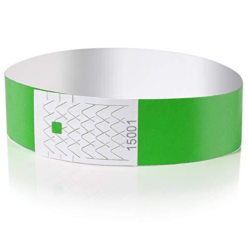 Amazy Pulseras de Identificacion (100 unids.) – Pulseras de seguridad numeradas e imprimibles para el control de eventos y fiestas (Verde)