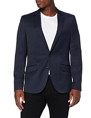 Find Herren Slim Fit Anzugjacke, Blau (Marineblau, Nadelstreifen), 56R, Label: 46R