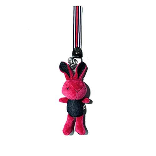 WAGA Lindo Llavero 20cm Conejo Lindo Dril de algodón Llavero, Bolso del Anillo dominante del Encanto del Bolso (Coche Llavero), Charm Regalo Regalo para Mujeres (Color : Red)