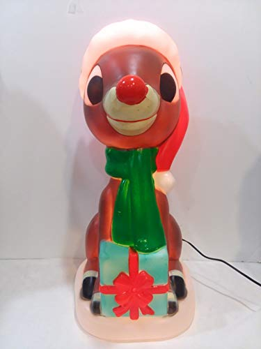 Gemmy 23.6' Rudolph The Red Nosed Reindeer Figure Blow Mold Lawn Yard Christmas Decoration Plastic Light Up Lighted