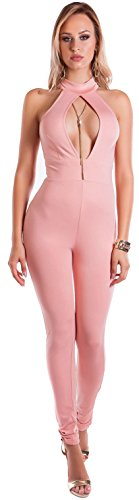 Firstclass Trendstore sexy Overall mit Cut-Outs Gr. S-M, ärmellos Jumpsuit Hosenanzug Bodysuit Damen Clubwear Party (OV194161 900196 Altrosa M)