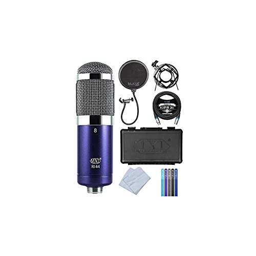 MXL R144 Ribbon Microphone with Shockmount for Vocals, Brass, Horns, Acoustic & Electric Guitars, Guitar Amps Bundle with Blucoil Pop Filter, 10-FT Balanced XLR Cable and 5-Pack of Reusable Cable Ties