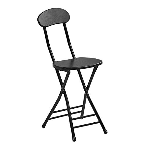 N/Z Daily Equipment Wooden Step Stool Foldable Vintage Chair Folding Bar Stool Ladder Wood Foot Stools Adult Indoor Kitchen Bathroom (Color : Black)
