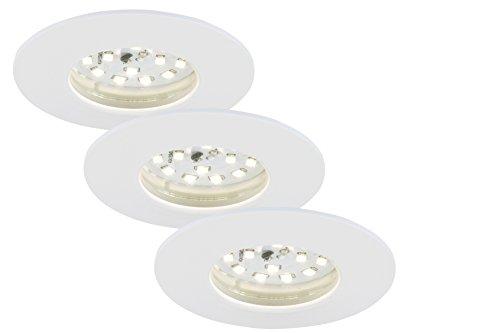 Briloner Leuchten 7231-036 LED Einbauleuchte, dimmbar, Einbaustrahler, LED Strahler, Spots, Deckenstrahler, Deckenspot, Lampen Wohnzimmer, LED Einbaustrahler 230v, Deckeneinbauleuchten, 5,5 Watt, 470 Lumen, Badezimmer / Bad geeignet IP44, energiesparend, 3er-Set, rund, weiß