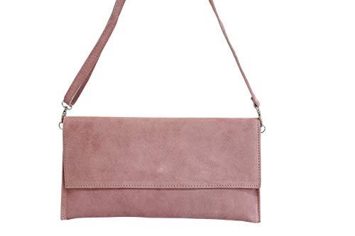 AMBRA Moda Damen Wildleder Clutch Handtasche veloursleder Tasche Handschlaufe WL811 (Altrosa dunkel) - 2
