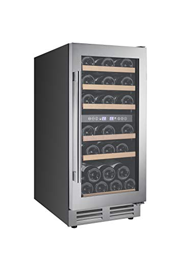 15 Inch Wine Cooler, Dual Zone Wine Refrigerator Built-in or Freestanding, Fast Cooling Wine Chiller, Quiet Operation, 30 Bottle Mini Wine Fridge with Temperature Memory Control and Glass Door for Red, White Wine or Champagne (30-Bottle)