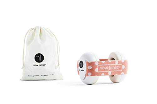 New Junior Baby Ear Protection - Newborn Noise Cancelling Earmuffs - Toddler Ear Protection up to 36 Months - Includes Carry Bag - The Only Silicone Non Slip Headband Available - (Peach Dots)