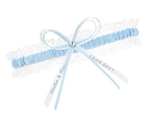 hochzeitsstrumpfband.de Strumpfband Blau - INDIVIDUELL BESCHRIFTET - (60-70 cm)