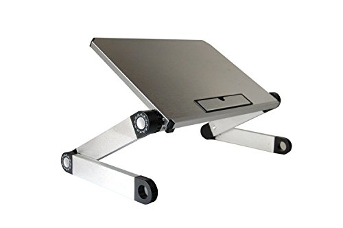 WorkEZ LIGHT Ergonomic Portable Lightweight Folding Aluminum Laptop Cooling Stand & Lap Desk Tray for Bed Couch. Adjustable height angle tilt notebook computer macbook desktop riser table-top holder