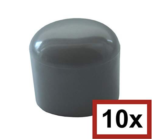 10 Stück Kunststoff-Rohrkappen (PVC), Möbelgleiter, ALLE GRÖßEN WÄHLBAR 30mm bis 90mm, Schutzkappen, Stuhlbeinkappen, Gleitkappen (Für Rohraußen-Ø: 34-35mm bzw. 1 Zoll)