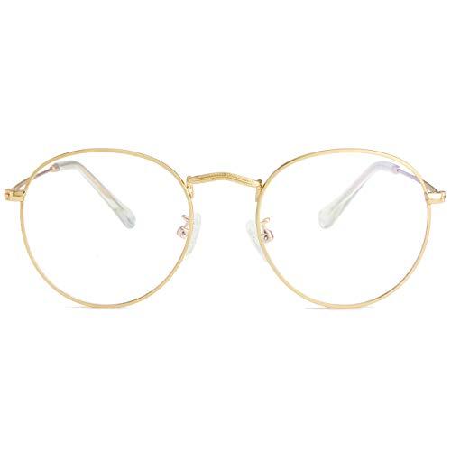 Blue Light Blocking Glasses for Women Men Retro Round Clear Lens Eyeglasses (Gold)