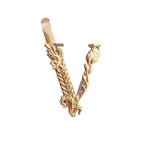 YZX Horquilla de Diamantes de imitación en Forma de V para Mujer Accesorios para el Cabello latón Retro Dorado