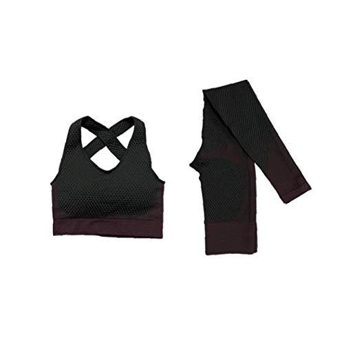 DierCosy Tools Trajes sin Costura Yoga Workout Gym de Manga Larga Tops y Pantalones Mono Set Yoga Polainas + Deportes Bras Entrenamiento Vestidos para Las Mujeres (XL)