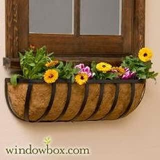 Standard English Garden Iron Hay Rack Window Basket w/ Coco Liner - 48 Inch