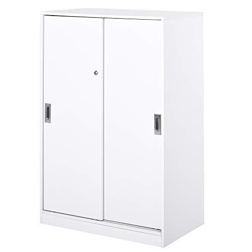 HOMCOM Aktenschrank, Büroschrank, großer Bürocontainer mit 3 Regal, 2 Aufbewahrungsschränke mit Türen, E1 Spanplatte,Weiß, 80 x 40 x 120 cm