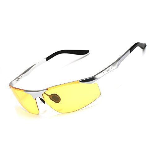 Soxick Men's HD Polarized Night Driving Glasses Anti Glare Safety Glasses (Silver Frame/Yellow Lens-2)