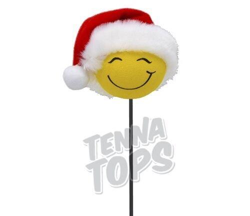 Tenna Tops Santa Hat Cutie Happy Smiley Car Antenna Topper/Antenna Ball/Rear View Mirror Dangler/Auto Accessory