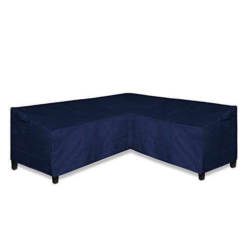 EasyGoing Patio VShaped Sectional Sofa Cover Waterproof Outdoor Sectional CoverHeavy Duty Garden Furniture Cover with Air Vent 100quot L on Each Side x 335quot D x 31quot H Navy