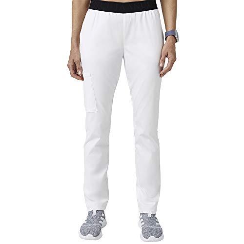 Jaanuu Women's Scrubs Pants 3 Pocket W/Logo & Stretch Fabric | Regular Inseam Length | Women's Fashion Workwear Medical Uniform with ForminaFlex Fabric | XX-Small White (Apparel)