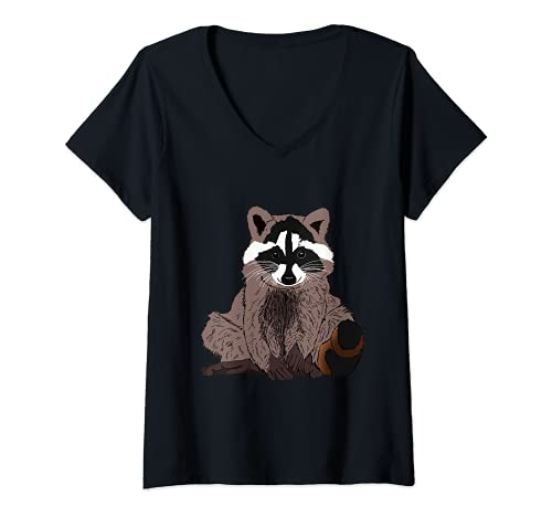 Mujer mapache lindo con regalo de piel esponjosa Camiseta Cuello V