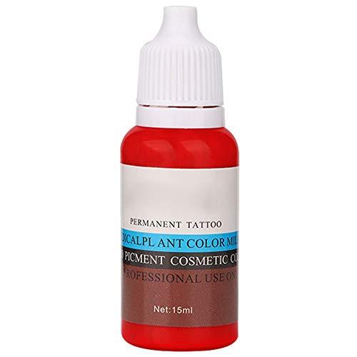 Tatouage Pigment Encre De Tatouage 15 ml/Bouteille Sourcils Lèvre Eyeliner Tatouage Plante Pigment Permanent Pigment Encre Outil De Maquillage(Rouge (