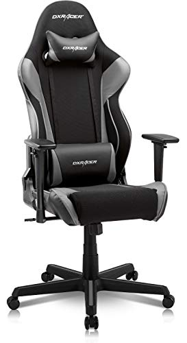 DXRacer OH/RAA106 Racing Series Adjustable Ergonomic Computer Gaming Home Office Leather Desk Chair with Lumbar Support, Swivel Base, Wheels, and Headrest, Standard, Black & Gray